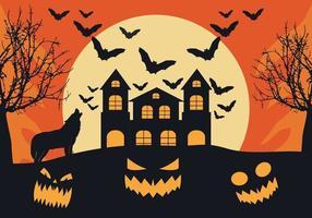 Casa de Halloween com um fundo assustador vetor