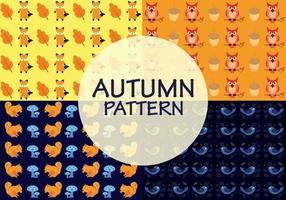 Padrões de outono com uma combinação de animais, folhas velhas, bolota e cogumelos