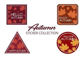 Coleção de adesivos de outono com folhas
