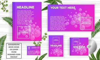 Bolhas roxas abstraem conjunto de modelo de banner web design