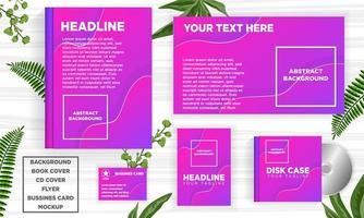 Conjunto de modelo de web de banner violeta curva desenho abstrato