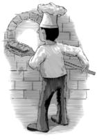 Padeiro gravado, puxando o pão de um forno de tijolos vetor