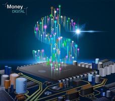 Dinheiro digital eletrônico com circuitos vetor