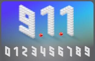Fonte de número isométrica no design do cubo vetor