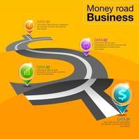 infográfico de estrada de dinheiro de negócios com ícones vetor