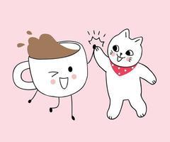 Gatos bonitos dos desenhos animados e xícara de café vetor