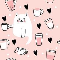 Gato bonito dos desenhos animados, bebendo café sem costura padrão