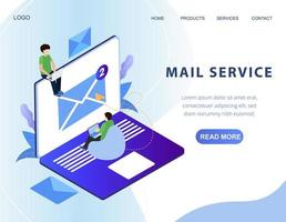 Banner da web de serviço de e-mail isométrico vetor