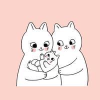 Gatos de família bonitos dos desenhos animados e recém-nascido