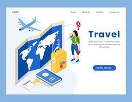 página de destino do conceito de viagem isométrica