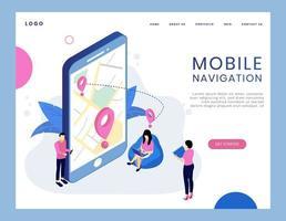 Moderno conceito isométrico de navegação móvel