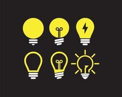 Conjunto de ícones de lâmpada vetor