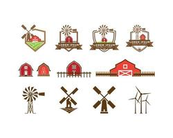 Conjunto de logotipo vermelho celeiro e moinho de vento