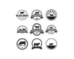 Conjunto de logotipo de emblema de vaca
