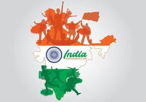 Mapa da Índia com silhuetas de pessoas para o dia da independência indiana vetor