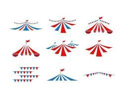 Conjunto de coleta de tenda de circo vetor