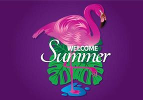 Imagem de boas-vindas do verão com flamingo e folhas vetor