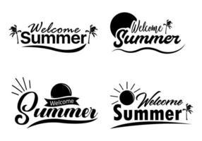 Bem-vindo verão conjunto de letras vetor