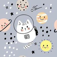 Gato bonito dos desenhos animados no padrão sem emenda de galáxia e planetas