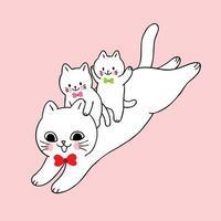 Gato bonito dos desenhos animados e bebê pulando vetor