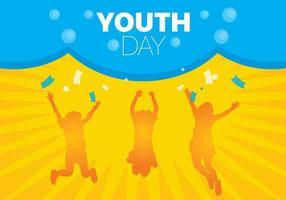 Fundo de dia da juventude com silhuetas laranja vetor