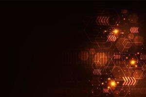 Formas de tecnologia abstrato brilhante laranja vermelho vetor