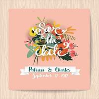 Cartão de convite de casamento com fundo rosa buquê de flores vetor