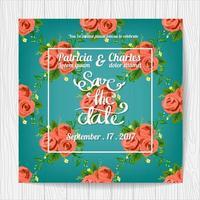 Cartão de convite de casamento com padrão de rosa vetor