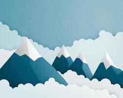 Cena de montanha e nuvem em estilo de corte de papel vetor