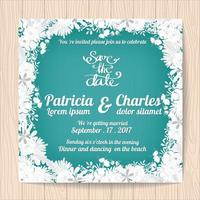 Cartão de convite de casamento com moldura de flor branca vetor