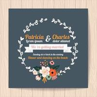 Cartão de convite de casamento com coroa de flores vetor