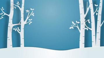 Paisagem de inverno vista plano de fundo no estilo de corte de papel. vetor