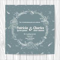Cartão de convite de casamento doodle estilo com coroa de flores vetor