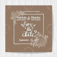 Convite de casamento com moldura e flores vetor