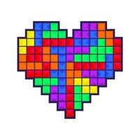 Coração em mosaico colorido