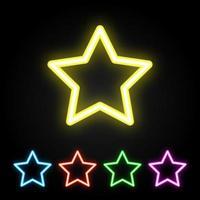 Conjunto de estrelas de néon colorido vetor
