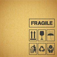 Etiquetas de manuseio de embalagens em papelão vetor