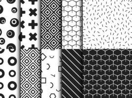 Conjunto de moda vários padrão geométrico sem emenda vetor