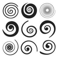 Elementos de redemoinho em espiral vetor