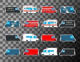 Vários veículos de tráfego urbano da cidade vetor