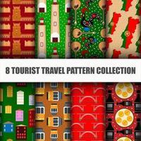 Conjunto de viajar o mundo sem costura padrão vetor