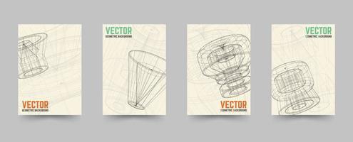 Conjunto de modelo de capa de tecnologia de brochura
