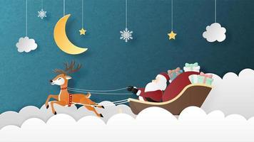 Papai Noel e renas cartão em papel cortado estilo vetor