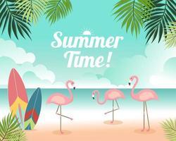 Lindo verão banner e cartaz cartão de praia vetor