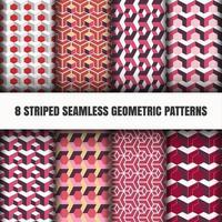 Conjunto de padrões vermelhos geométricos sem costura listrados vetor