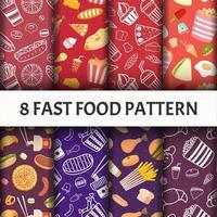 Conjunto de padrão de fast-food. vetor