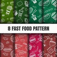 Fast-food padrão conjunto plano vetor