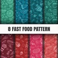Conjunto de padrão de fast-food sem emenda vetor