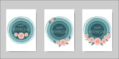 Conjunto de feliz dia das mães letras cartões vetor