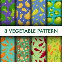 Conjunto de vegetais sem costura padrão bonito vetor